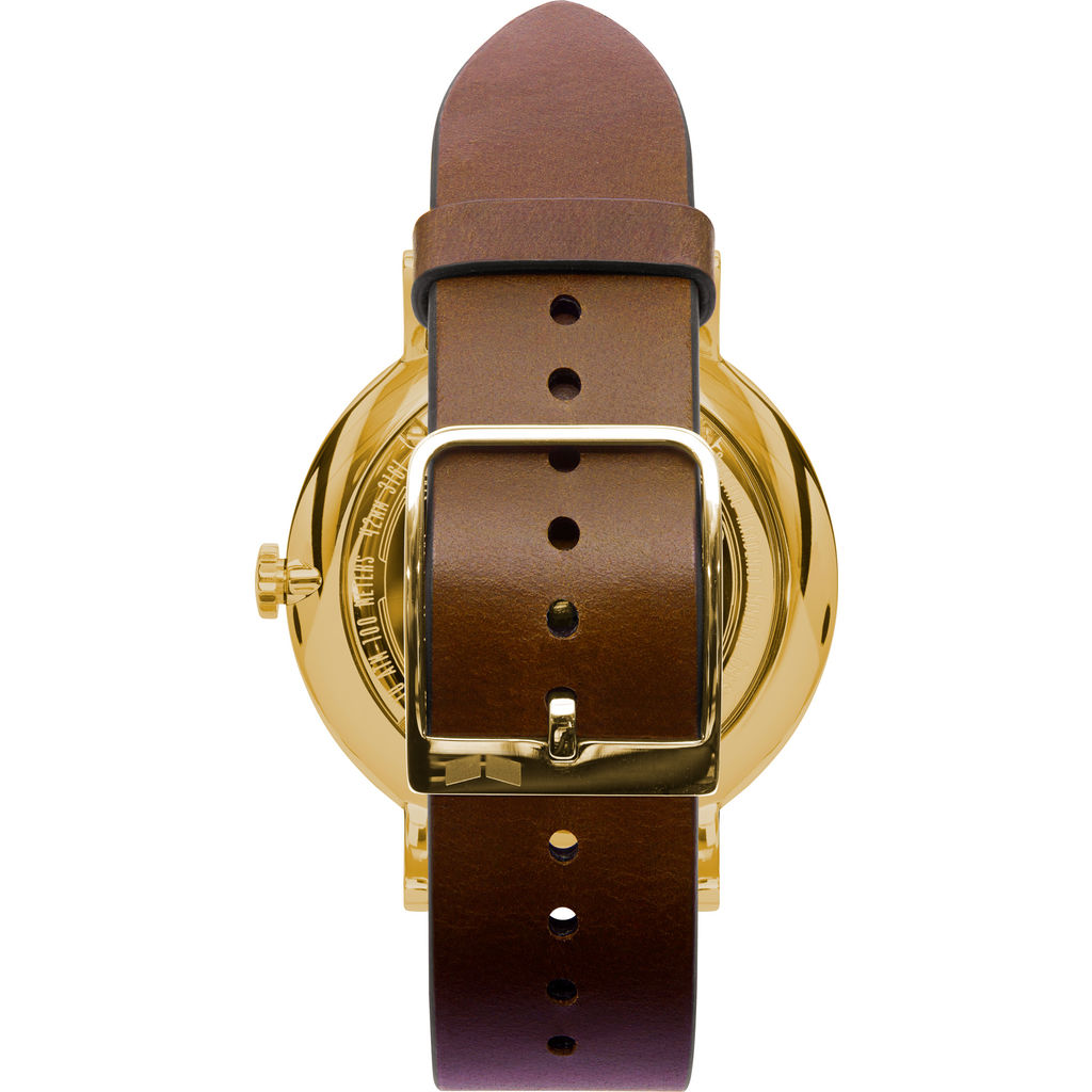 Vestal The Sophisticate Italian Leather Watch | Light Brown/Gold/White