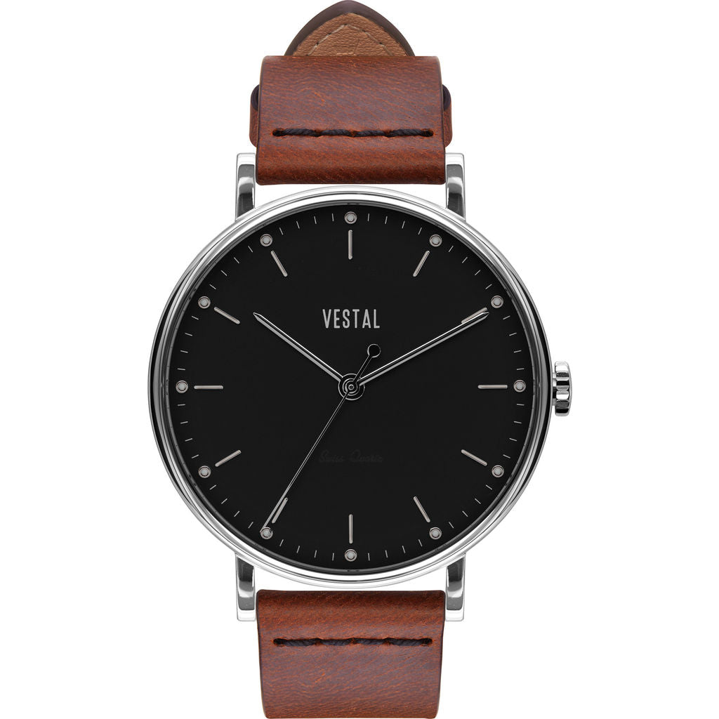 Vestal The Sophisticate Italian Leather Watch | Cordovan/Silver/Black