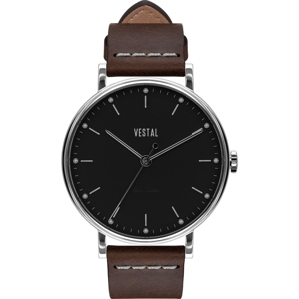 Vestal The Sophisticate Italian Leather Watch | Dark Brown/Silver/Black