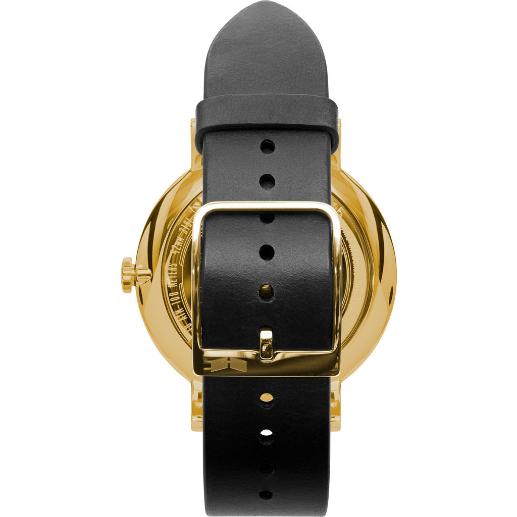 Vestal The Sophisticate Italian Leather Watch | Black/Gold/Black