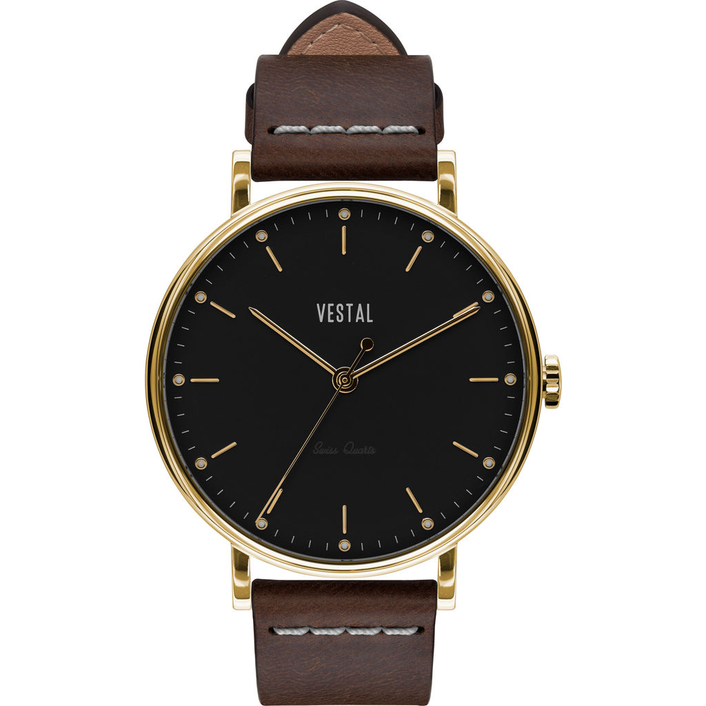 Vestal The Sophisticate Italian Leather Watch | Dark Brown/Gold/Black