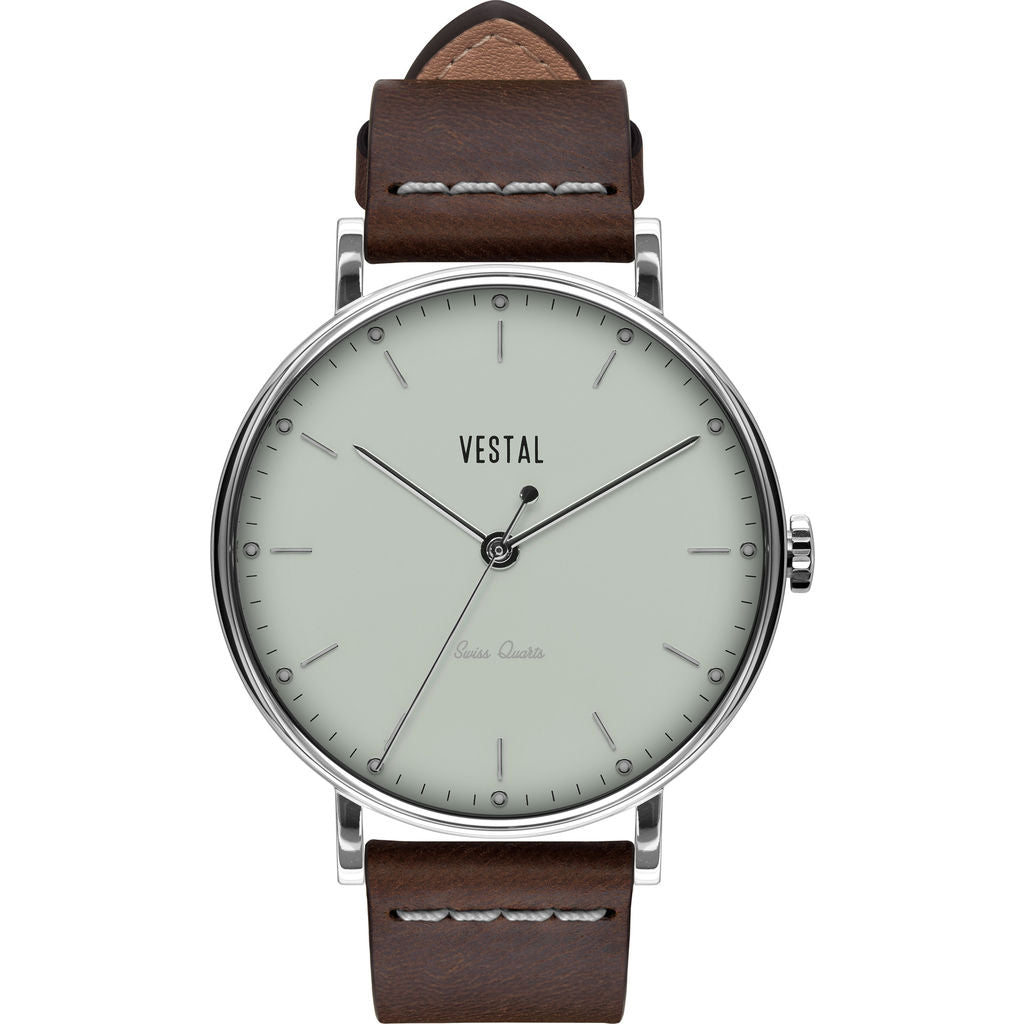 Vestal The Sophisticate Italian Leather Watch | Dark Brown/Silver/Marine