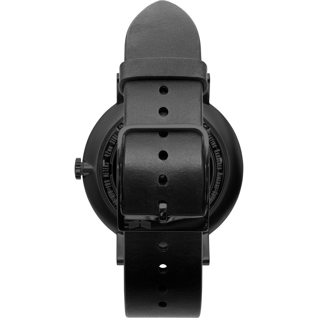 Vestal The Sophisticate Italian Leather Watch | Black/Black/Blue Accent