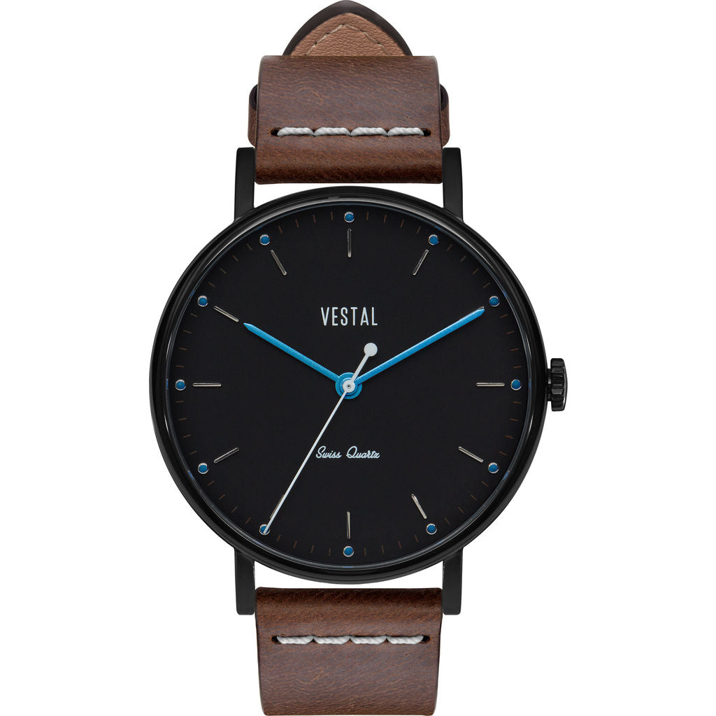 Vestal The Sophisticate Italian Leather Watch | Light Brown/Black/Blue Accent