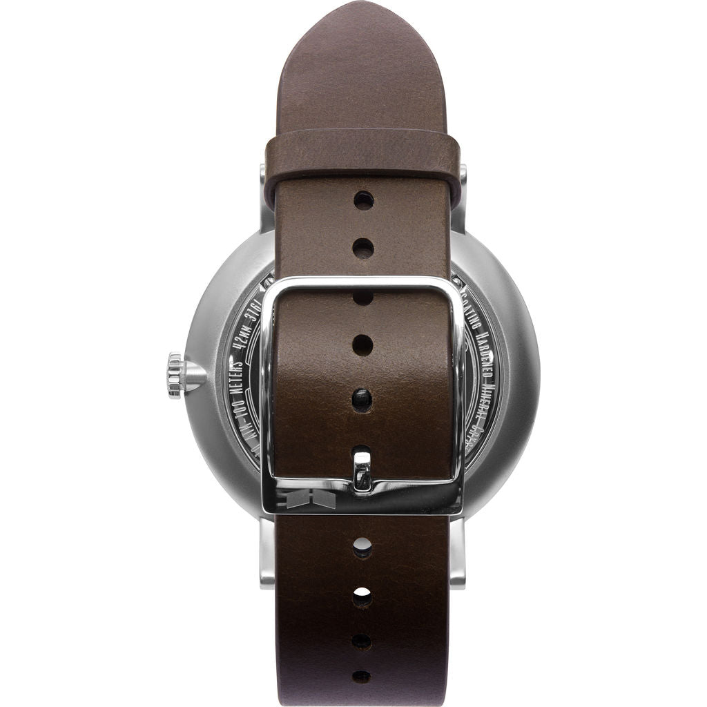 Vestal The Sophisticate Italian Leather Watch | Dark Brown/Silver/Metallic White