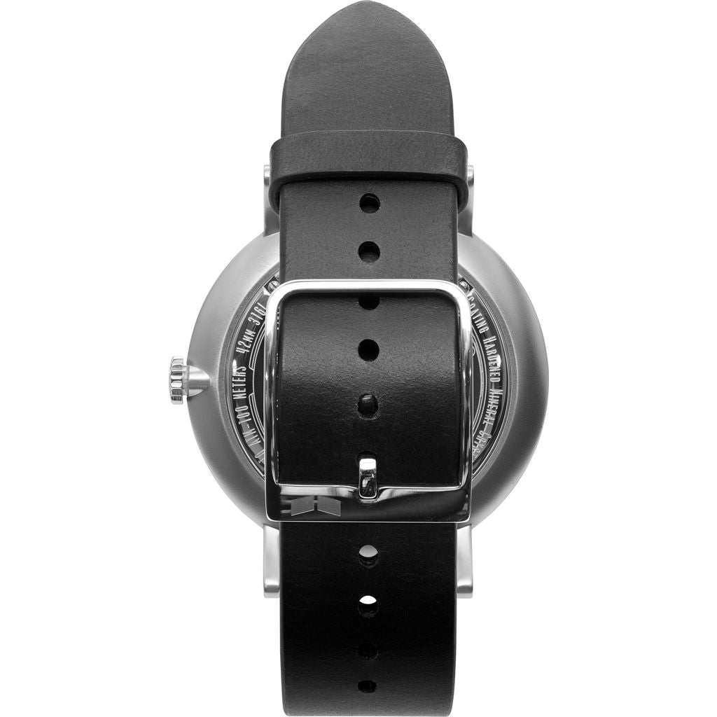 Vestal The Sophisticate Italian Leather Watch | Black/Silver/Grey
