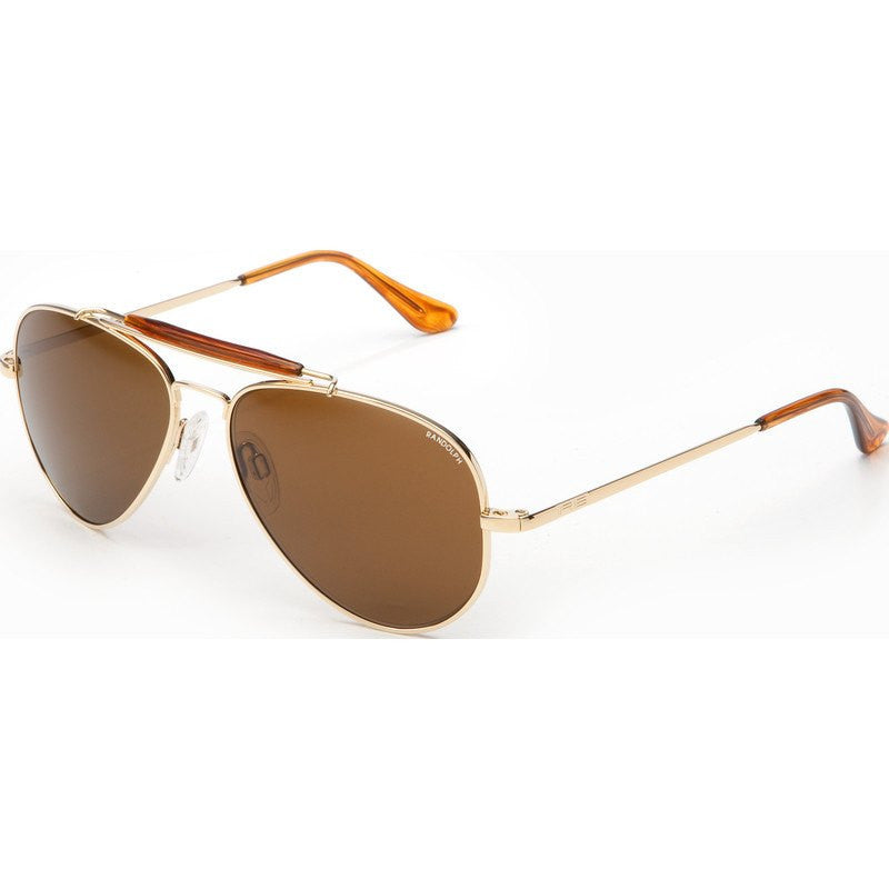 Randolph Engineering Sportsman 23K Gold Plated Sunglasses | Tan Polarized Skull