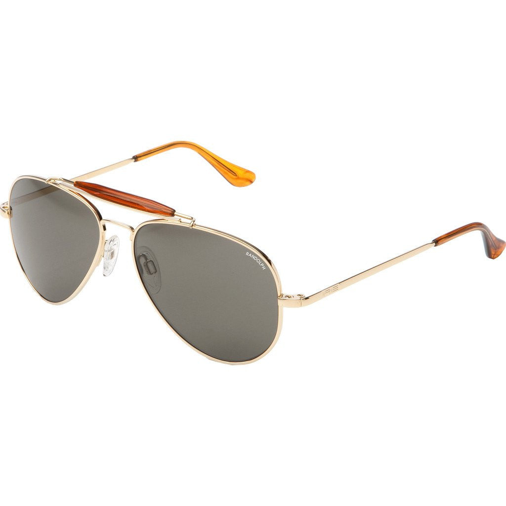 Randolph Engineering Sportsman 23K Gold Plated Sunglasses | Gray Polarized Glass Skull 57MM SP71434