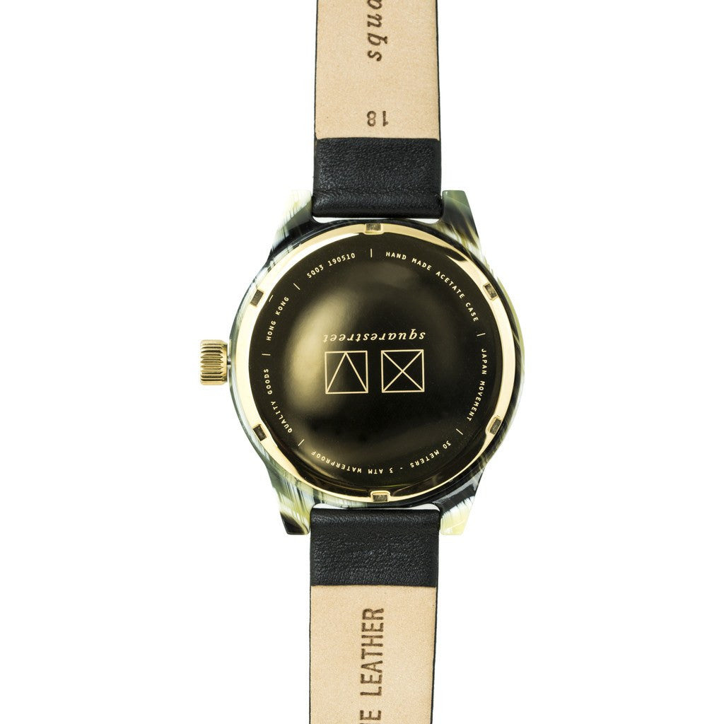 squarestreet SQ03 Minuteman One Hand Off-White Watch | Horn/Black Leather SQ03 A-17