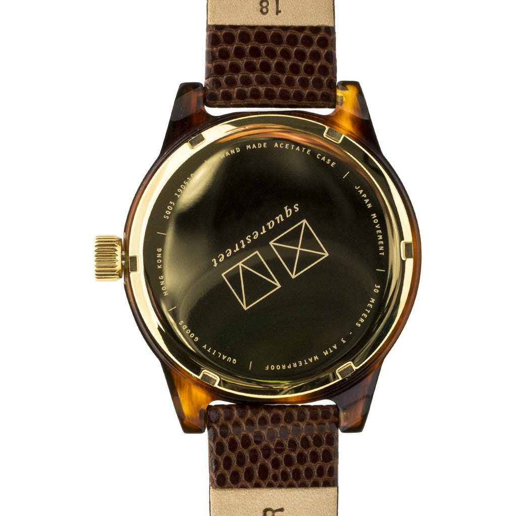 squarestreet SQ03 Minuteman One Hand Off-White Watch | Tortoise/Brown Lizard Print SQ03 A-01