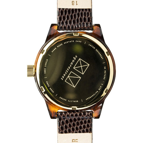 squarestreet SQ03 Minuteman Two Hand Off-White Watch | Tortoise/Moro Lizard Print SQ03 B-08
