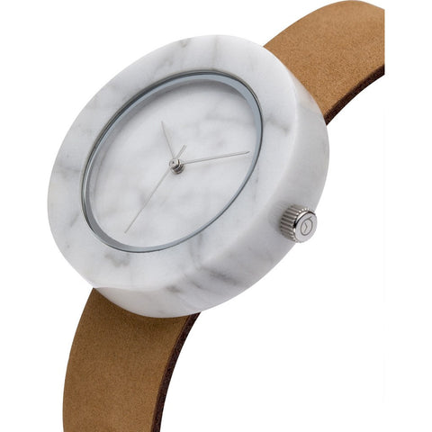 Analog Mason Genuine White Marble Circular Watch | Tan Strap st-wo