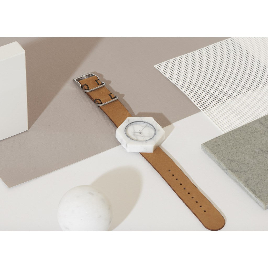 Analog Mason Genuine White Marble Hex Watch | Tan Strap st-wx