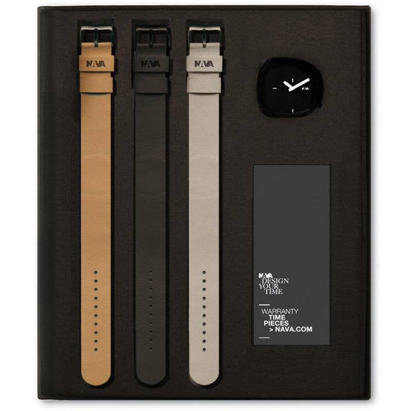 Nava Design Stone Dial Watch Gift Set | Black O480GB