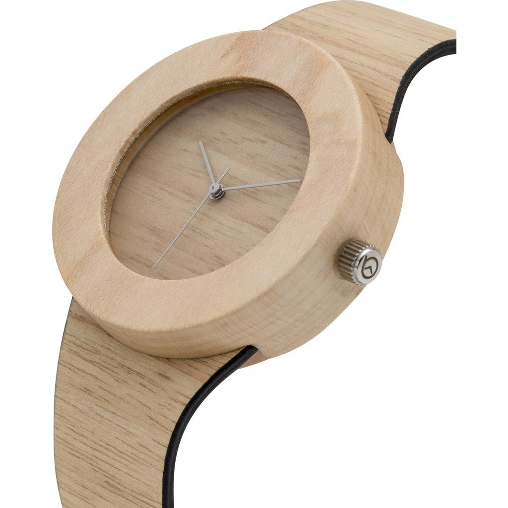 Analog Carpenter Silverheart & Maple Wood Watch | No Markings