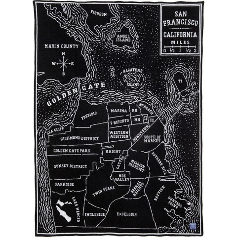 "Faribault San Francisco Map Wool Throw | Black 17238 50"" x 65"""