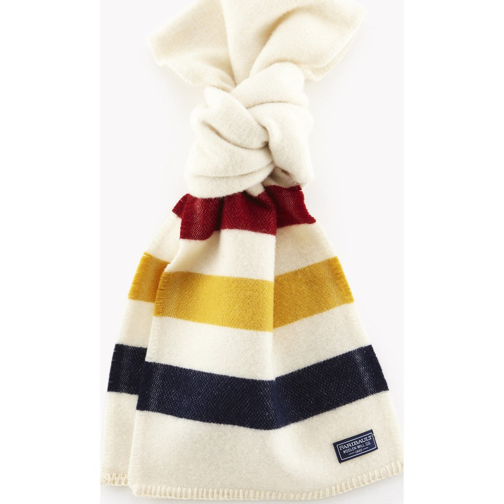 Faribault Revival Stripe Wool Scarf | Bone White 1930 10x72