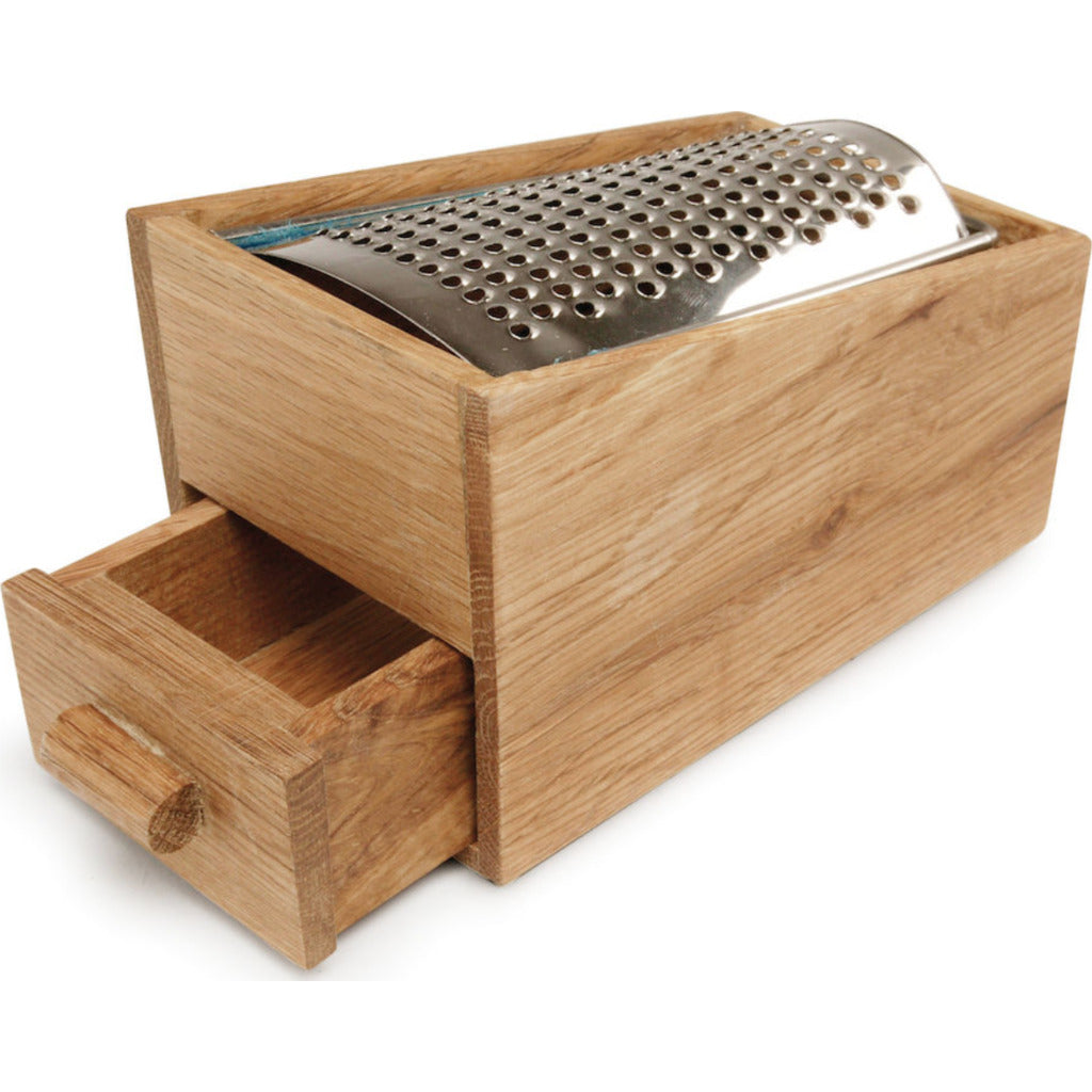 Sagaform Nature cheese grater oak w/drawer 5010138 silver/brown
