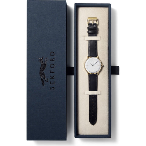 Sekford Type 1A Gold Watch | White/Black Leather-SE-K001