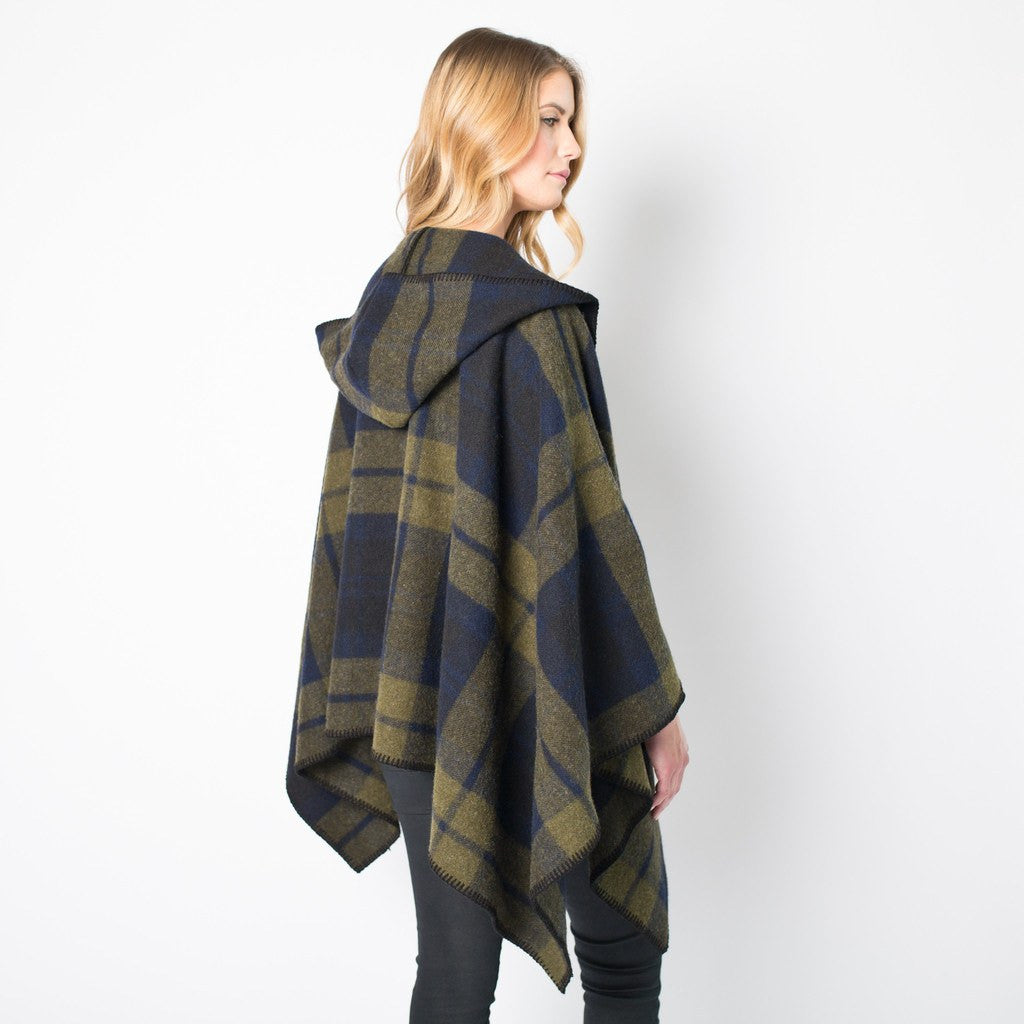 Faribault Shadow Plaid Wool Cape | Green/Blue/Black 14824 One Size