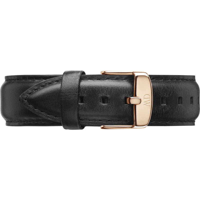 Daniel Wellington Classic Sheffield Black Leather Men's Wristband | Rose Gold 0307DW