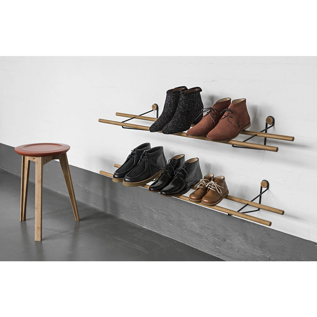We Do Wood Shoe Rack Dark | Brass- 02030626