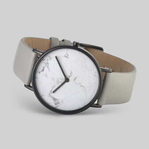 The Horse White Stone Polished Black Watch | Grey STO123 -C3
