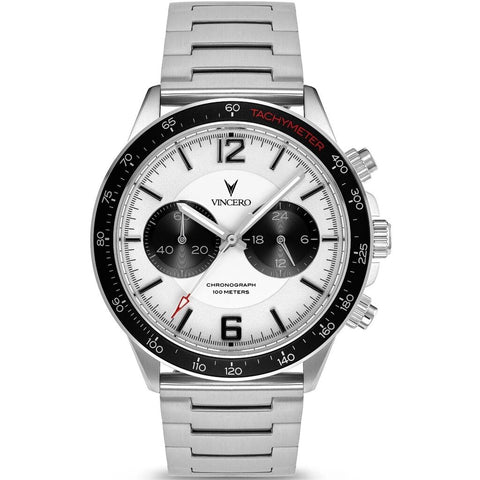 Vincero Men's Apex Sport Silver/Black Watch | Stainless Steel Strap Sil-Whi-P03