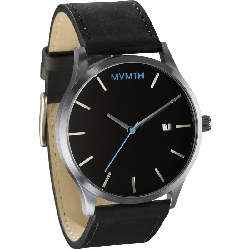 MVMT Watch | Black/Silver Leather