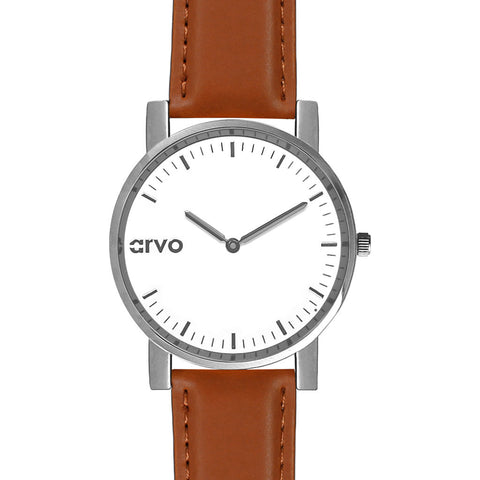 Arvo White Timeus Edison Watch | Silver/Brown