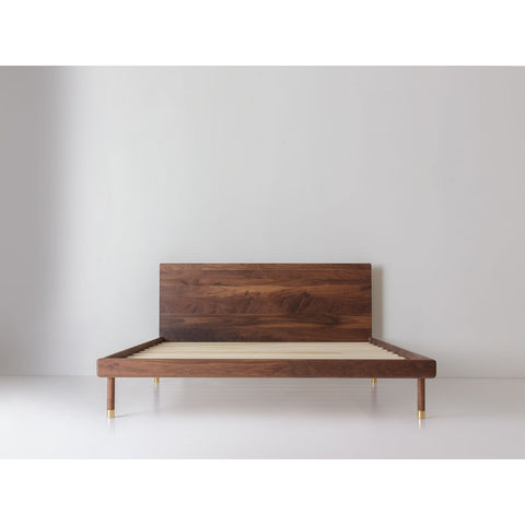 Kalon Simple Wood Bed Frame w/ Headboard | Walnut