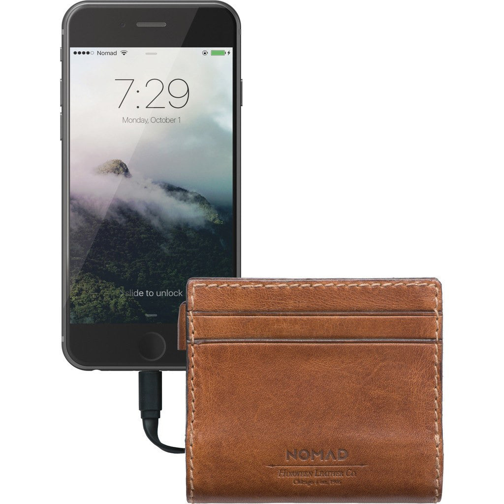 Nomad Horween Leather Slim Charging Wallet | Brown WALLET-LIGHTNING-SLIM-HORWEENBRN