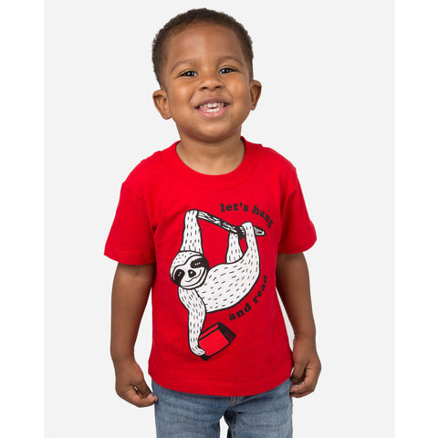 Out of Print Let's Hang and Read Kid's T-Shirt | Red 4/5 YR Y-2058