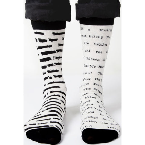 Out of Print Banned Books Adult Socks | Black & White
