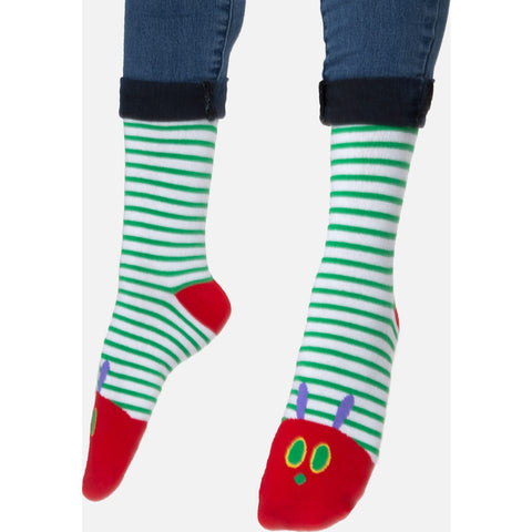 Out of Print The Very Hungry Caterpillar Adult Socks | Green & Red