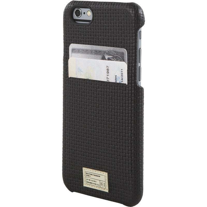 Hex Solo Wallet for iPhone 6 Black Woven Leather | HX1751 BKWV
