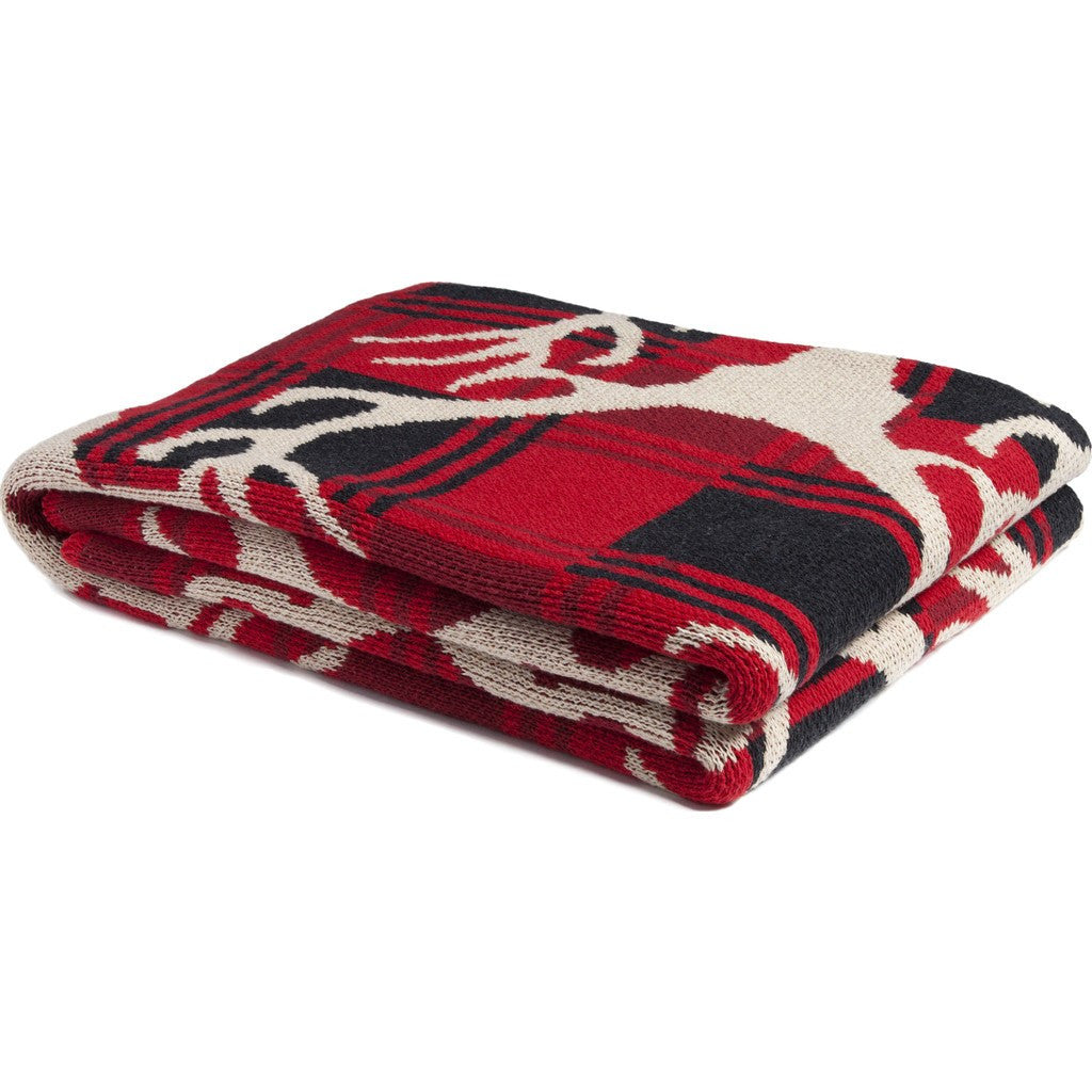 in2green Stag Buffalo Plaid Eco Throw | Cherry/Black/Flax BL01STP1