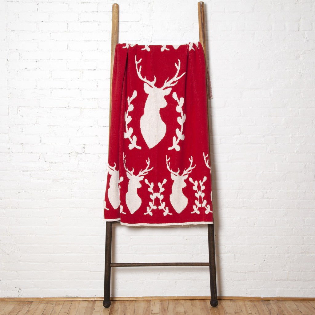 in2green Stag with Vine Eco Throw | Cherry BL01STV2