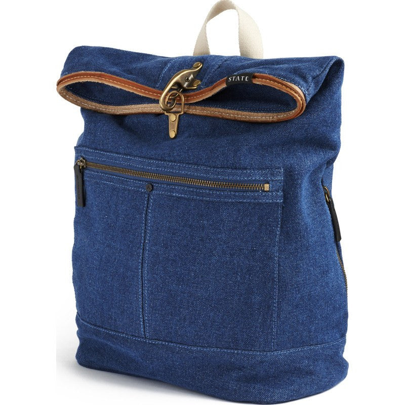STATE Bags Smith Foldover Denim Backpack | Light Wash