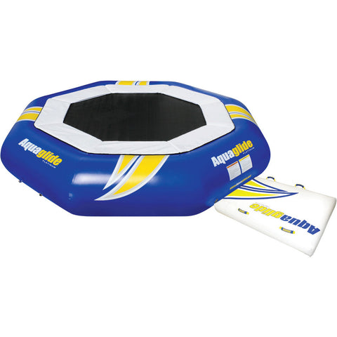 Aquaglide Supertramp 14 Inftable Trampoline w/ Swimstep | Yellow/Blue/White 58-5209106