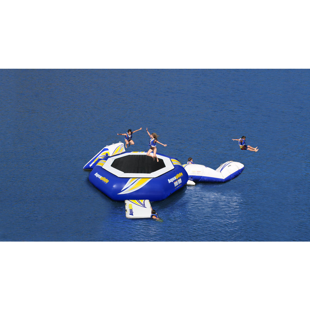 Aquaglide Supertramp 17 Inftable Trampoline w/ Swimstep | Yellow/Blue/White 58-5209102