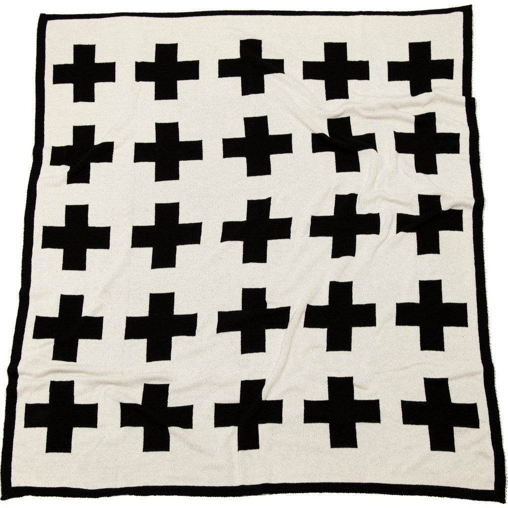 in2green Swiss Cross Split Reversible Eco Throw | Black BL01RSWC4