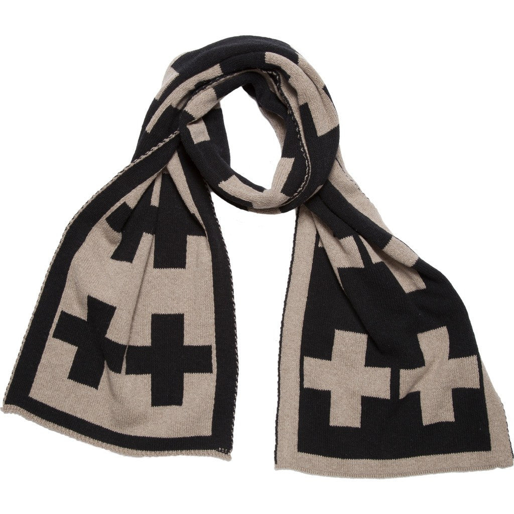 in2green Swiss Cross Reversible Scarf | Hemp/Black SWC2HB