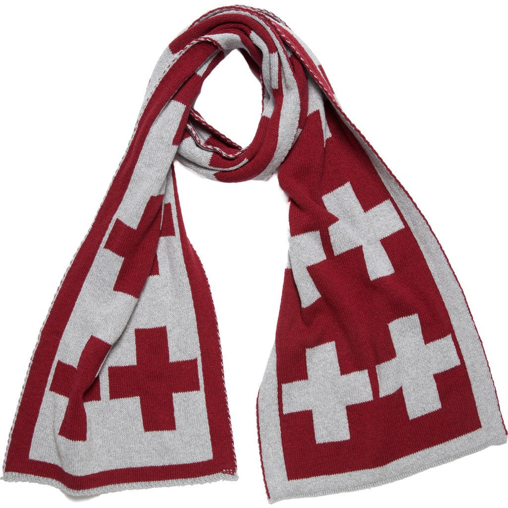 in2green Swiss Cross Reversible Scarf | Pomegranate/Aluminum SWC2PA