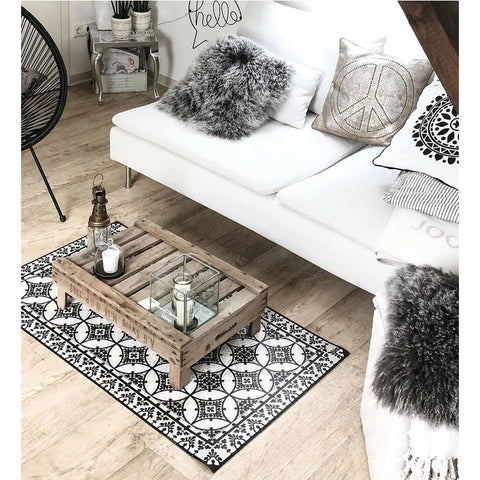 Beija Flor Barcelona Floor Mat Runner | Black/White