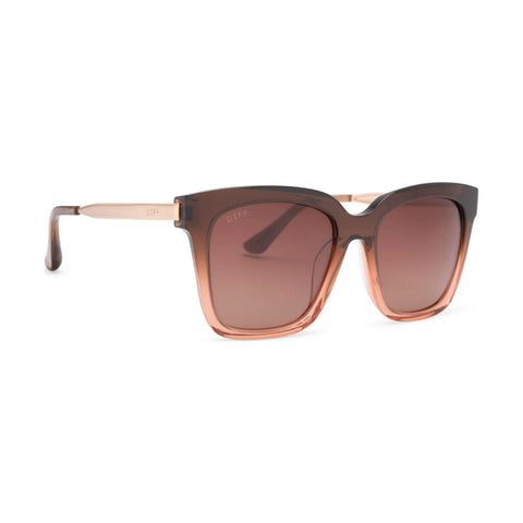 Diff Eyewear Bella Sunglasses | Taupe Ombre Crystal + Brown Gradient Lens