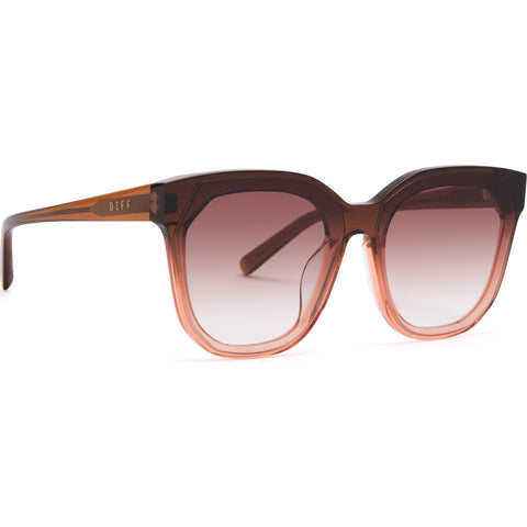 DIFF Eyewear Gia Sunglasses | Taupe Ombre Crystal + Brown Gradient Lens