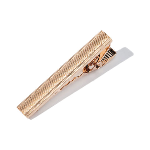 Hook & Albert Stripe Etched Tie Bar | Rose Gold
