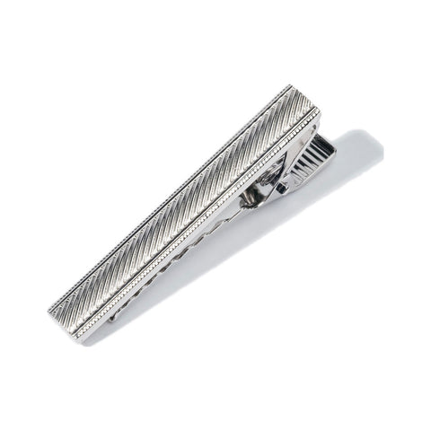 Hook & Albert Stripe Etched Tie Bar | Silver