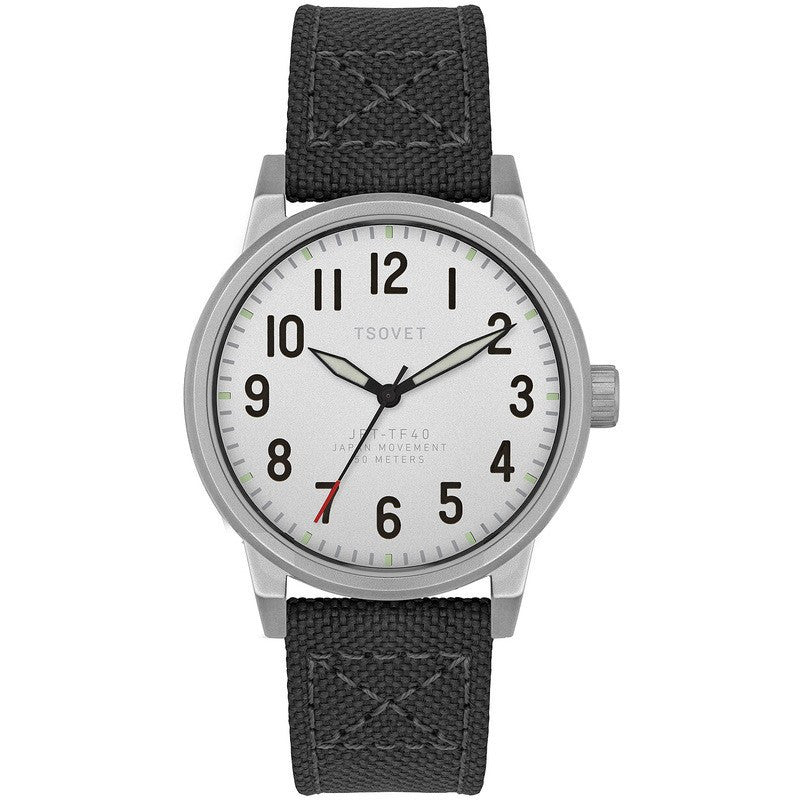 Tsovet JPT-TF40 Japan Quartz Steel & Matte Silver Watch | Black Canvas